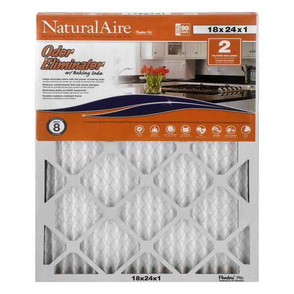 NaturalAire Air Cleaning Filters, Odor Eliminator, 18 x 24 x 1