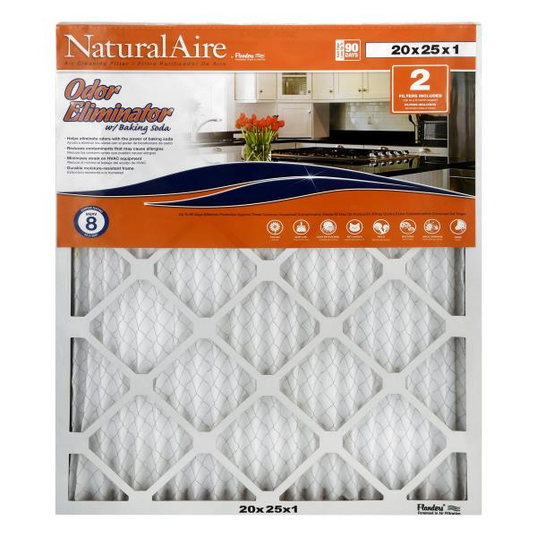 NaturalAire Air Cleaning Filter, Odor Eliminator w/Baking Soda, 20 x 25 x 1