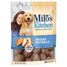 Milos Kitchen Dog Treats, Home-Style, Chicken Meatballs