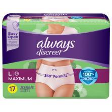 Always Discreet Underwear, Maximum Classic Cut, L (170-260 lbs)