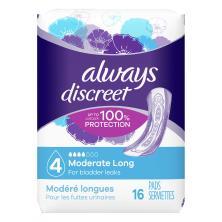 Always Discreet Pads, Long Length, Moderate