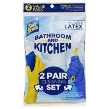Soft Scrub Gloves, Reusable Latex, Bathroom and Kitchen, Medium, Value Pack