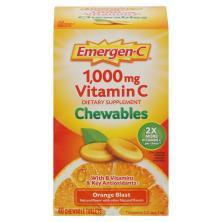 Emergen C Vitamin C, 1,000 mg, Chewable Tablets, Orange