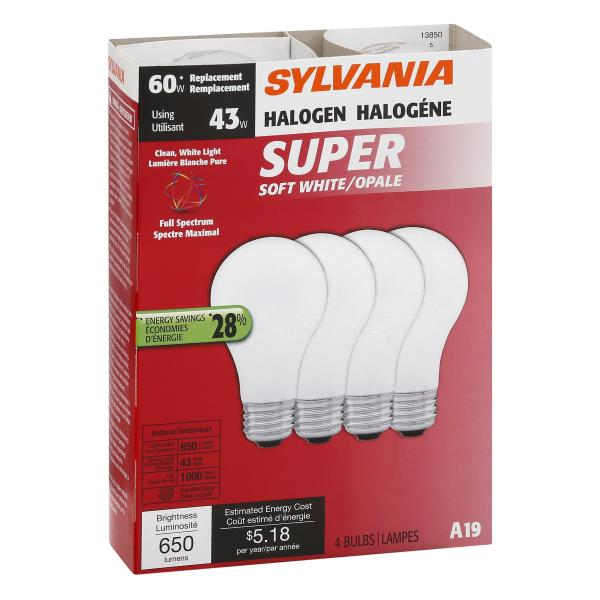 Sylvania Light Bulbs, Halogen, Super Soft White, 43 Watts