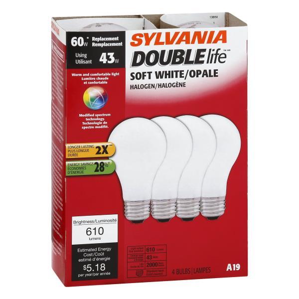 Sylvania Double Life Light Bulbs, Halogen, Soft White, 43 Watts