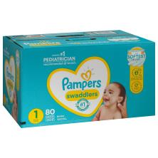 Pampers Swaddlers Diapers, Size 1 (8-14 lb), Blankie Soft Heart Quilts, Super Pack
