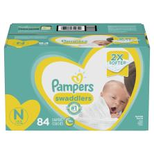 Pampers Swaddlers Diapers, Size N (Less than 10 lb), Blankie Soft Heart Quilts, Super Pack
