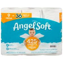 ANGEL SOFT Toilet Paper, 9 Mega Rolls, 9 = 36 Regular Rolls, Septic And Sewer Safe Bath Tissue