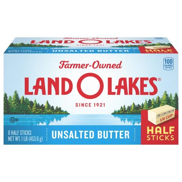 Land O Lakes Butter, Unsalted, Half Sticks