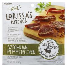 Lorissas Kitchen Steak Strips, Premium, Seasoned & Smoked Beef, Szechuan Peppercorn