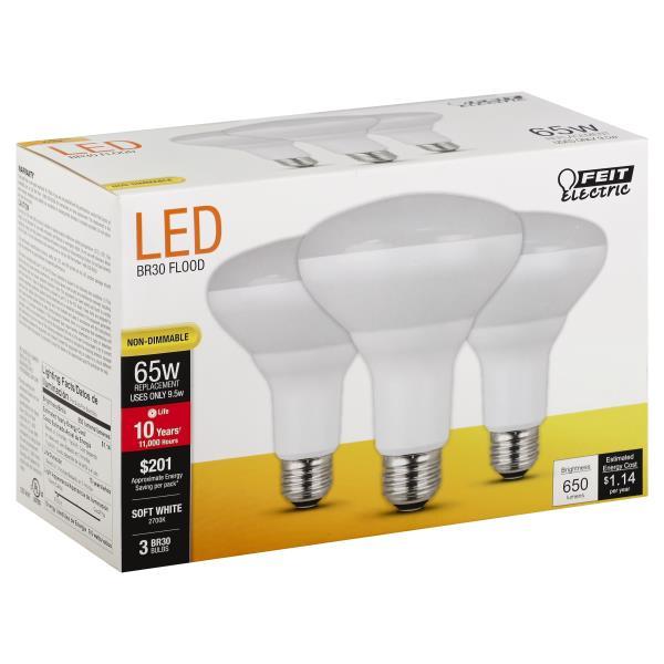 Feit Electric Light Bulbs, LED, Flood, Soft White, 9.5 Watts
