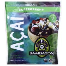 Sambazon Superfruit Packs, Organic, Supergreens, Acai