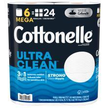 Cottonelle CleanCare Toilet Paper, Mega Rolls, 1-Ply