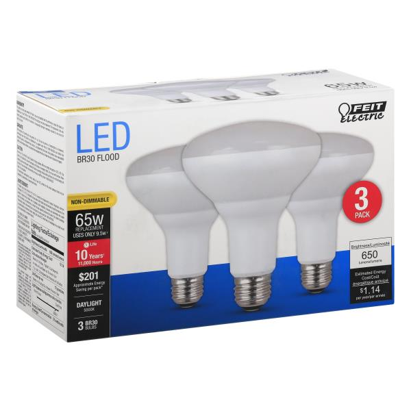 Feit Electric Light Bulbs, Flood, LED, Daylight, 9.5 Watts, 3 Pack ...