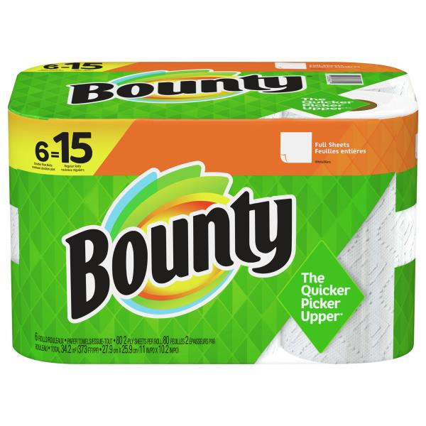 Bounty Full Sheet Paper Towels Giant Rolls: Bounty Paper Towels, Full Sheets, Huge Rolls, White, 2-Ply