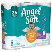 ANGEL SOFT Toilet Paper, Lavender Scented Bath Tissue, 9 Mega Rolls, 9 = 36 Regular Rolls, Septic And Sewer Safe Bath Tissue